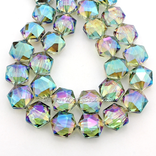 crystal faceted Hexagon beads, 14x16mm, green light, per pkg of 8pcs
