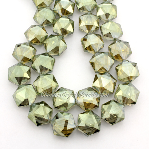 crystal faceted Hexagon beads, 14x16mm, green yellow, per pkg of 8pcs