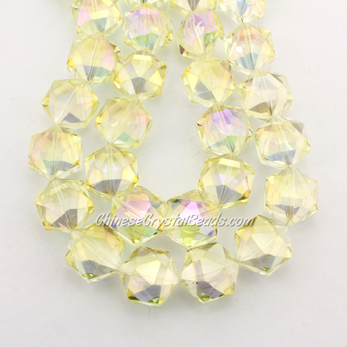 crystal faceted Hexagon beads, 14x16mm, yellow light, per pkg of 8pcs