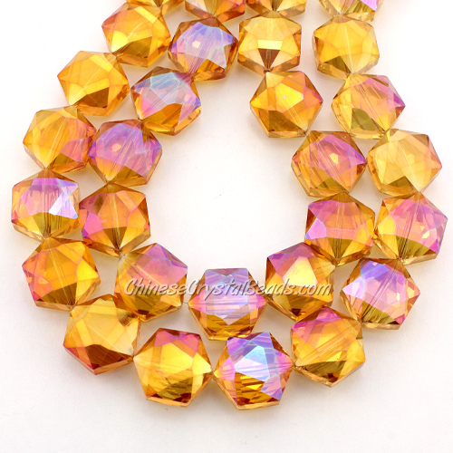 crystal faceted Hexagon beads, 14x16mm, Sun light, per pkg of 8pcs