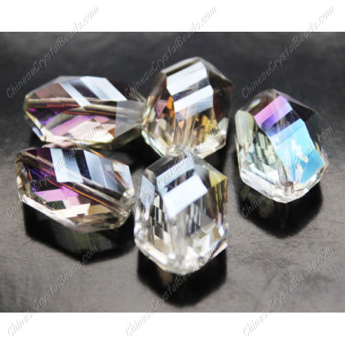 10Pcs Faceted Polygon Hexagon Glass Crystal, clear AB, hole:1.5mm (2 size)