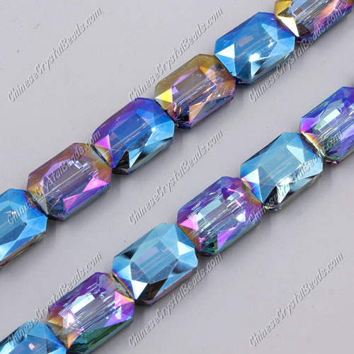 Chinese Crystal Faceted Rectangle Pendant, blue light 2, 13x18mm, 10 beads
