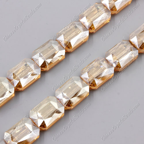 Chinese Crystal Faceted Rectangle Pendant, golden show, 13x18mm, 10 beads