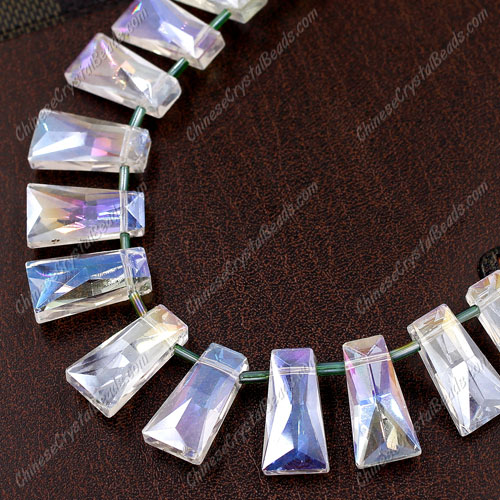 20pcs Faceted Trapezium Crystal Beads, clear AB, hole: 1.5mm, 20x10x7mm