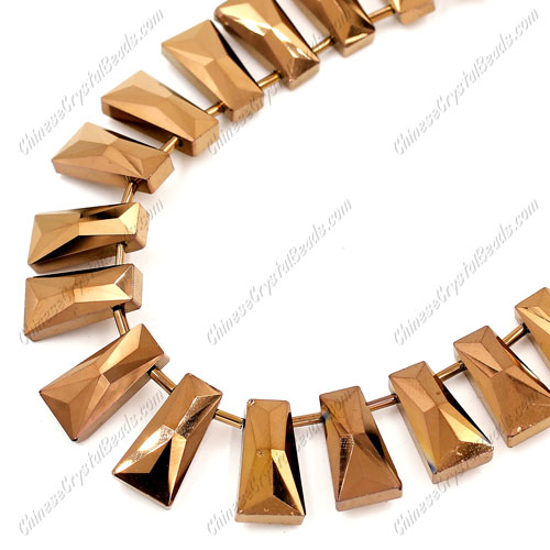 20pcs Faceted Trapezium Crystal Beads, copper light, hole: 1.5mm, 20x10x7mm