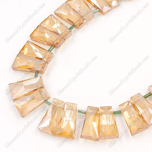 20pcs Faceted Trapezium Crystal Beads, golden shadow, hole: 1.5mm, 20x10x7mm