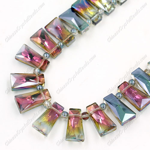20pcs Faceted Trapezium Crystal Beads, green and purpule light, hole: 1.5mm 20x10x7mm