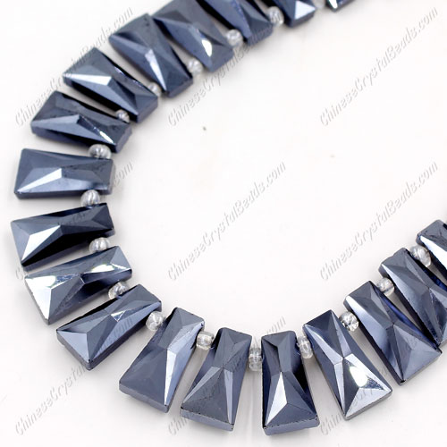 20pcs Faceted Trapezium Crystal Beads, gunmetal, hole: 1.5mm, 20x10x7mm