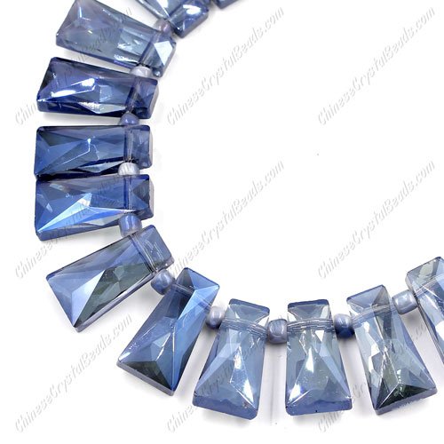 20pcs Faceted Trapezium Crystal Beads, magic blue, hole: 1.5mm, 20x10x7mm