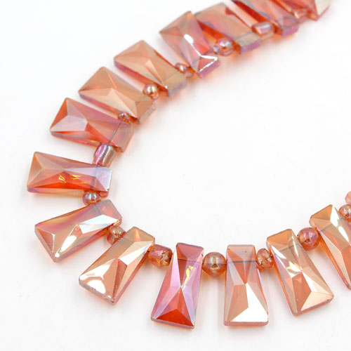 20pcs Faceted Trapezium Crystal Beads, orange light, hole: 1.5mm,20x10x7mm