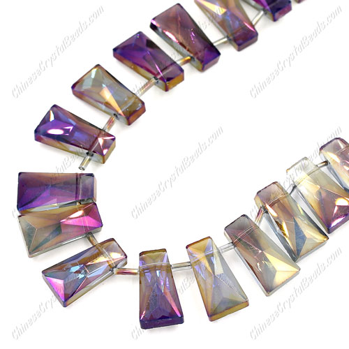20pcs Faceted Trapezium Crystal Beads, purple light, hole: 1.5mm,20x10x7mm