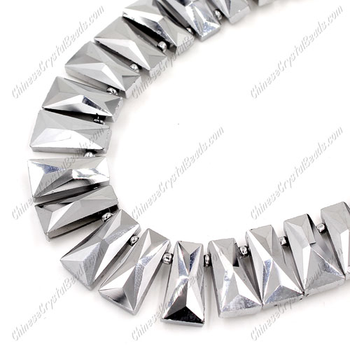 20pcs Faceted Trapezium Crystal Beads, silver light, hole: 1.5mm