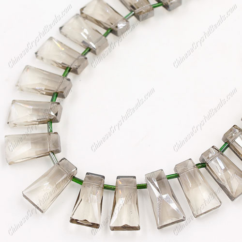 20pcs Faceted Trapezium Crystal Beads, silver shade, hole: 1.5mm