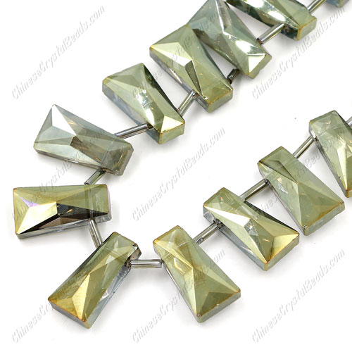 20pcs Faceted Trapezium Crystal Beads, yellow and green light, hole: 1.5mm