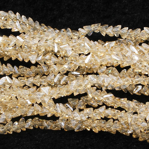 Triangle Crystal Beads, 4mm, 6mm, champagne shadow