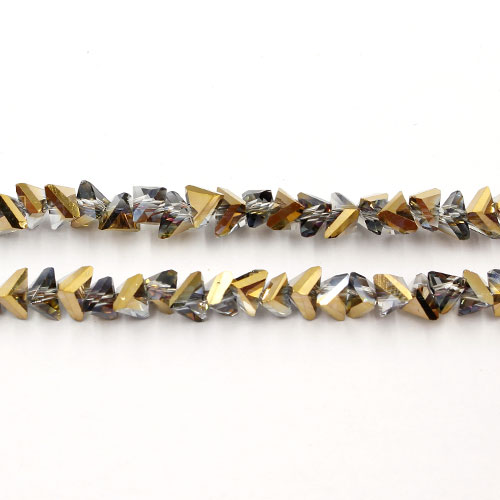 Triangle Crystal Beads, 4mm 6mm, gold and purple light