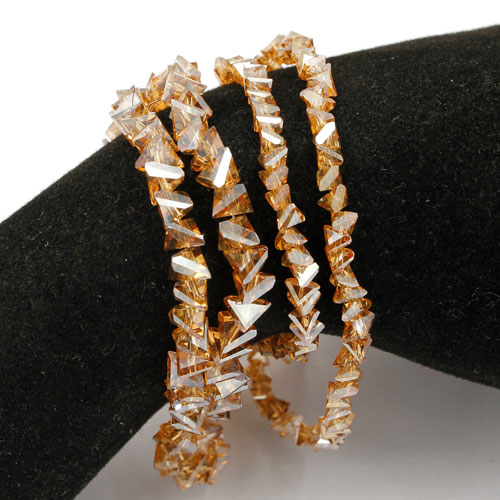 Triangle Crystal Beads, 4mm 6mm, golden shadow