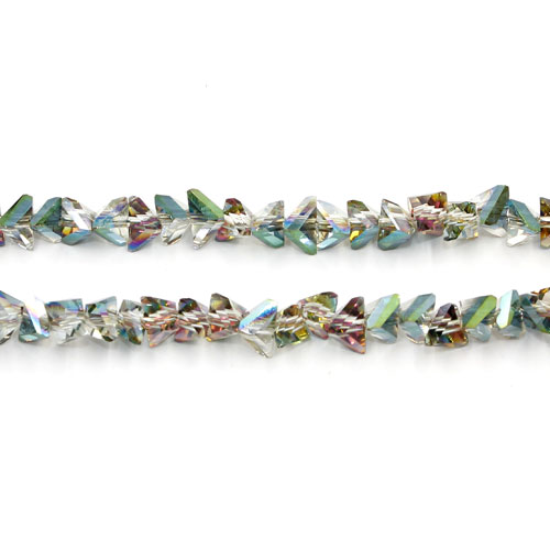 Triangle Crystal Beads, 4mm 6mm, green and purple light