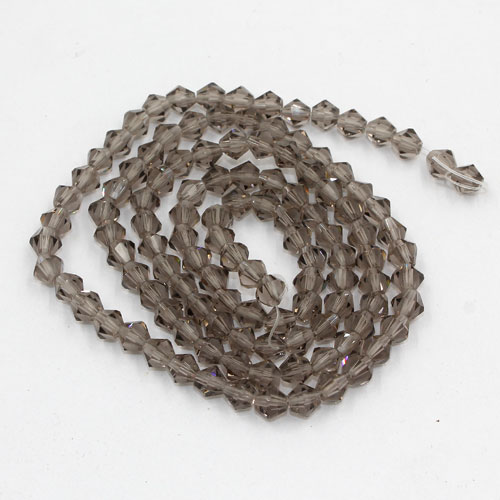 Chinese Crystal 4mm Bicone Bead Strand, gray, about 120 beads