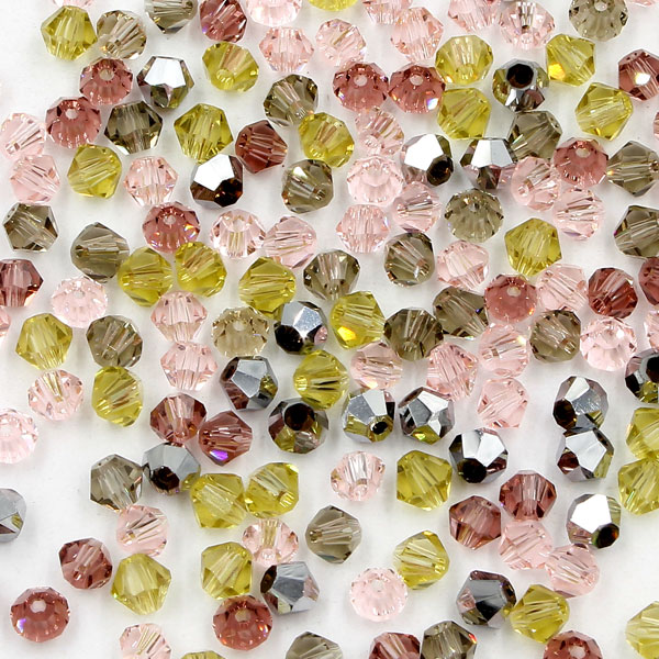 AAA 4mm mix bicone crystal beads, 01, Bag of 50