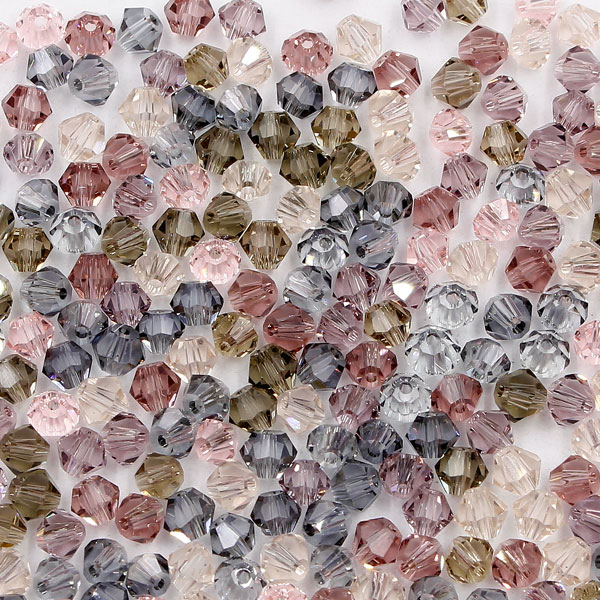 AAA 4mm mix bicone crystal beads, 02, Bag of 50