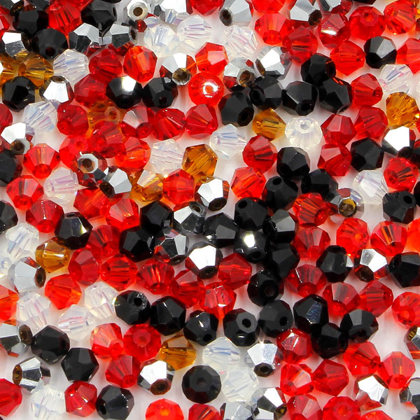 AAA 4mm mix bicone crystal beads, Bag of 50, Moulin Rouge