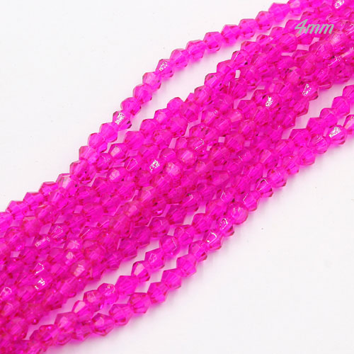 Chinese Crystal 4mm Bicone Bead Strand, pating fuchsia, about 120 beads