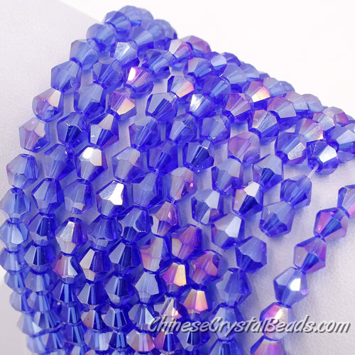 6mm bicone crystal beads, med sapphire AB about 50 beads