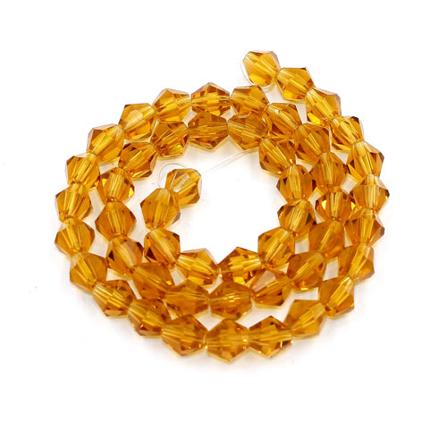 Chinese Crystal Bicone bead strand, 6mm, Amber, about 50 beads