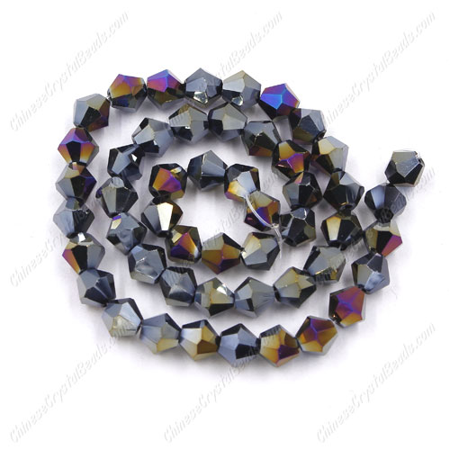 Chinese Crystal Faceted Bicone Strand, Black AB, 6mm, about 50 beads