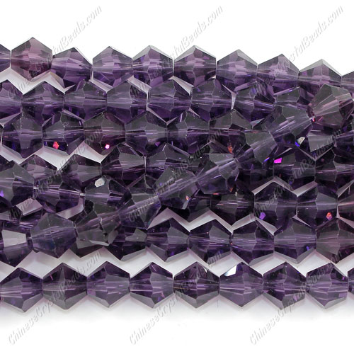 8mm Chinese Crystal Bicone Beads, violet, about 42 beads