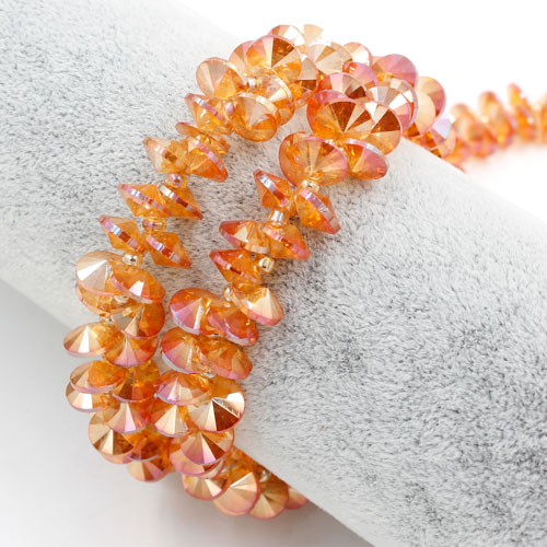 20Pcs 8mm Crystal Rivolis Beads, Crystal Satellite Drill, hole 1mm, orange light