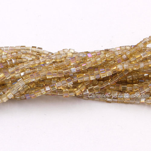 190pcs 2mm Cube Crystal Beads, yellow light2