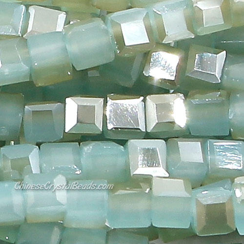 190pcs 2mm Cube Crystal Beads, jade color 18