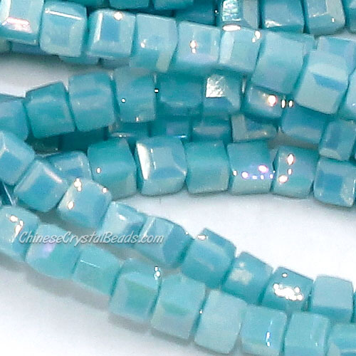 190pcs 2mm Cube Crystal Beads, opaque auqe