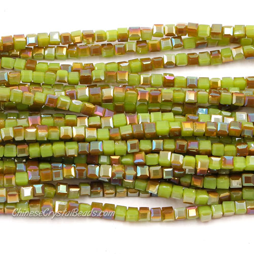190pcs 2mm Cube Crystal Beads, green opaque and brown light