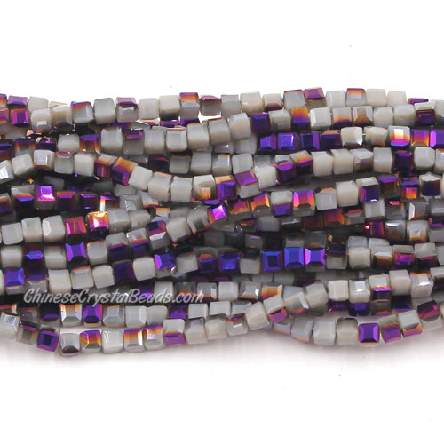 190pcs 2mm Cube Crystal Beads, gray opaque and purple light