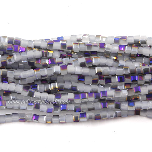 190pcs 2mm Cube Crystal Beads, gray jade and purple light