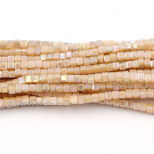 190pcs 2mm Cube Crystal Beads,light peach opaque