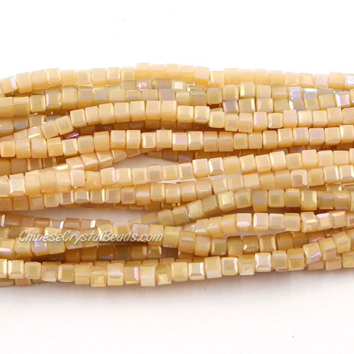 190pcs 2mm Cube Crystal Beads, peach opaque