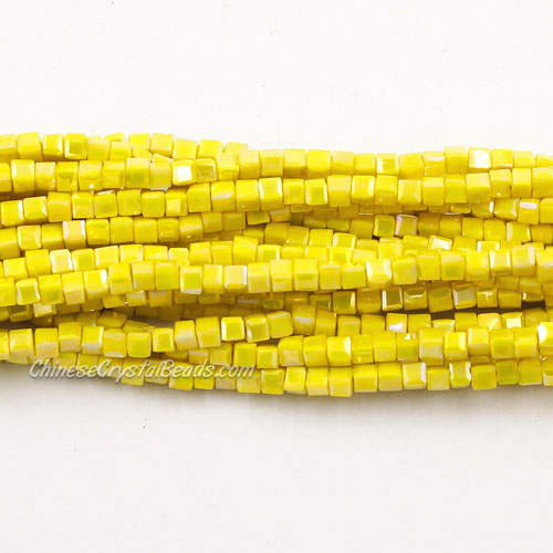 190pcs 2mm Cube Crystal Beads, opaque yellow
