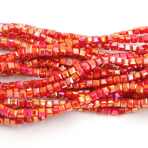 190pcs 2mm Cube Crystal Beads, opaque color 51