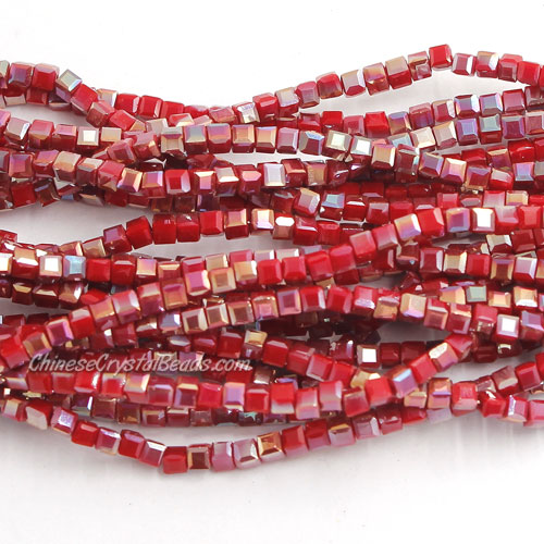 190pcs 2mm Cube Crystal Beads, opaque color 55