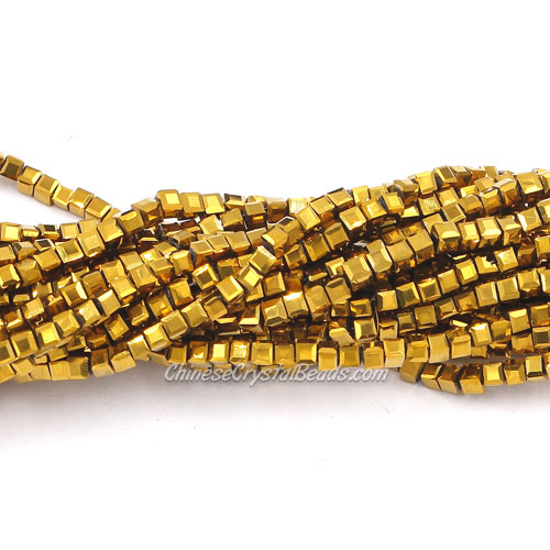 190pcs 2mm Cube Crystal Beads, gold