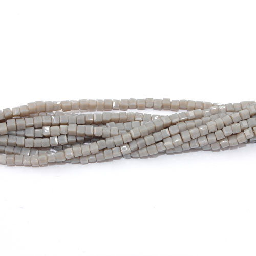 190pcs 2mm Cube Crystal Beads, opaque gray