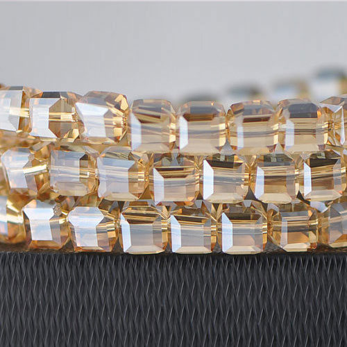 8mm Cube Crystal Beads, golden shadow, Sold About 25 pieces Per Strand