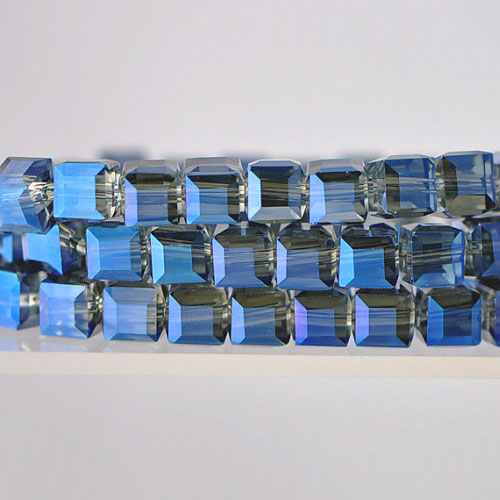 8mm Cube Crystal Beads, magic blue, Sold About 25 pieces Per Strand