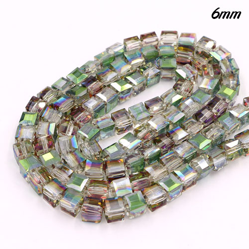 98Pcs 6mm Cube Crystal beads, green and purple light