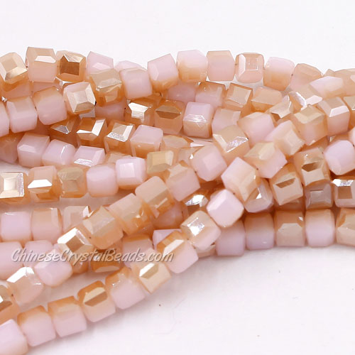 98Pcs 4mm Cube Crystal Beads, opaque pink champagne light