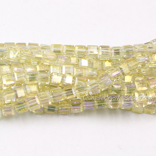 98Pcs 4mm Cube Crystal Beads, yellow light